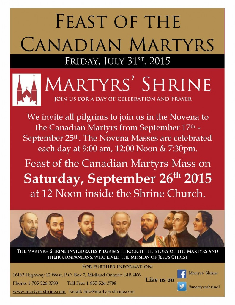 Ad for Feast Day of canadian martyrs 2015