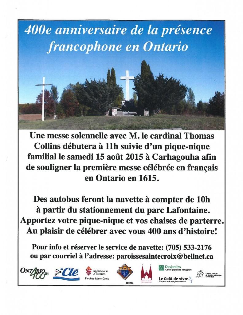 Ad for Francophone Pilgrimage at Carhagouha