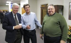 Midland Mayor Gord McKay, Former Board Chair Jack McFadden and John Zurakowski pose for a photo